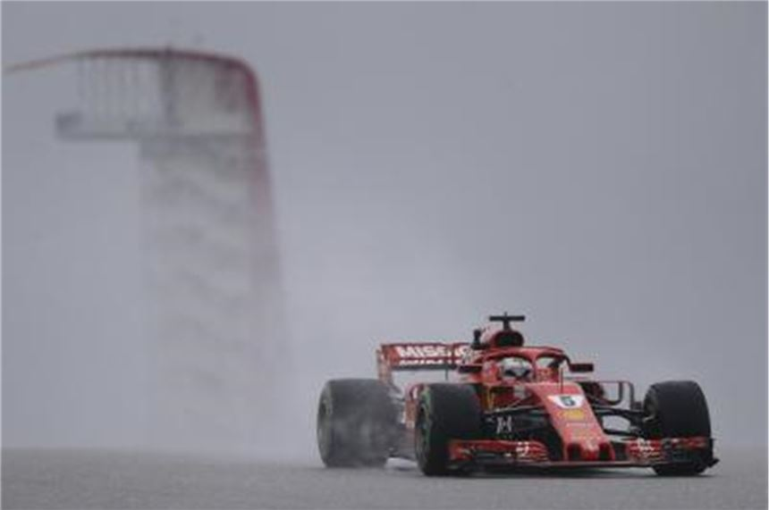 Ferrari-Star Sebastian Vettel beim Training in Austin. Foto: Eric Gay